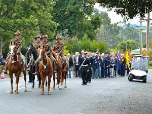 Light Horse: members of the Yanakie Campdraft Club led the Anzac Day march through Foster, representing the Light Horse.
