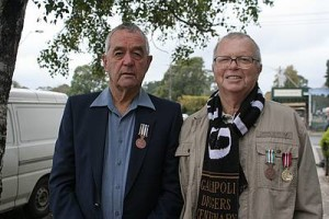 Respect: from left, Maurice Briscoe and John Chadwick, both of Mirboo North, attended the Anzac Day service in Mirboo North.