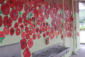 Student art: a wall of poppies created by students at Mirboo North Primary School.