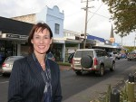 Country advocate: The Nationals MLC for Eastern Victoria Region Melina Bath in Leongatha last Thursday, outside the shop she used to run with family, Leongatha Health Nutrition and Wholefoods (beneath blue façade).