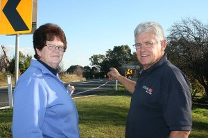 Tight bends: Leongatha North residents Janice Sing and Chris Howard point out how windy Crightons Hill is and urges drivers to keep to the speed limit when travelling along the dangerous road.