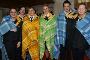 Rugged up: from left, Leongatha Secondary School students Taylah Darmanin, Zaine Barnard, Tristain Noble, Kurt Newton, James Ellis and Ashley Newton are already prepared with blankets for this year's winter sleep out