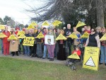 Hands off: Mirboo North residents raised placards in favour of a coal and gas free environment last week.