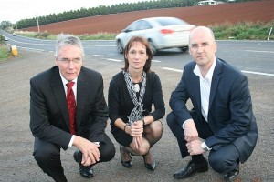Under scrutiny: from left, Shadow Agriculture and Water Minister and Leader of the Nationals Peter Walsh, Nationals' Eastern Victoria Region MLC Melina Bath and Gippsland South MLA Danny O'Brien are appalled by the state of South Gippsland's road and will strive to see them fixed.