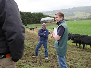 Talk about it: Leongatha vet Peter DeGaris (right) leads the discussion with Focus Farmer Dan Knee at the field day held at Toora North.