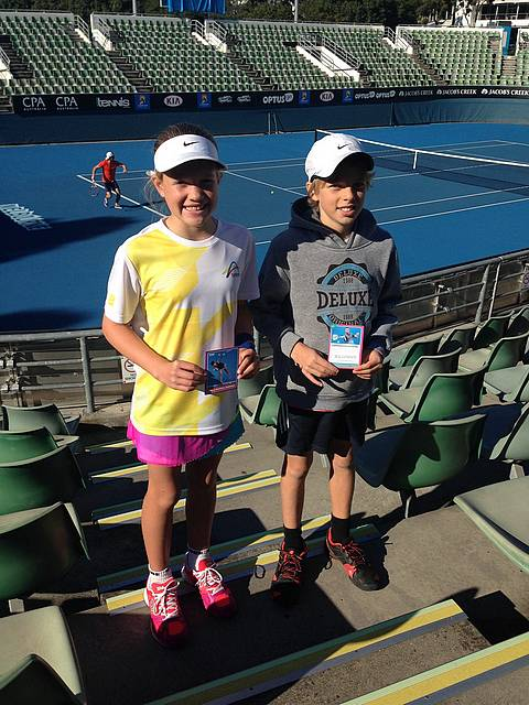 All stars: Jayla Morcom and Ben Clements at the home of the Australian Open, Melbourne Park.