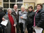 Townspeople outraged: Koonwarra residents and businesspeople objecting to the landfill proposal are, from left, Beatrice Zacaropoulos, Thomas Burge, Melissa Burge, Zee Dammerel and Maria Stuart