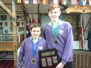 Shield bearer: first placed Henry Turner and third placed Alex Krausz with the Year 8 shield. The pair are from Mirboo North Secondary College.