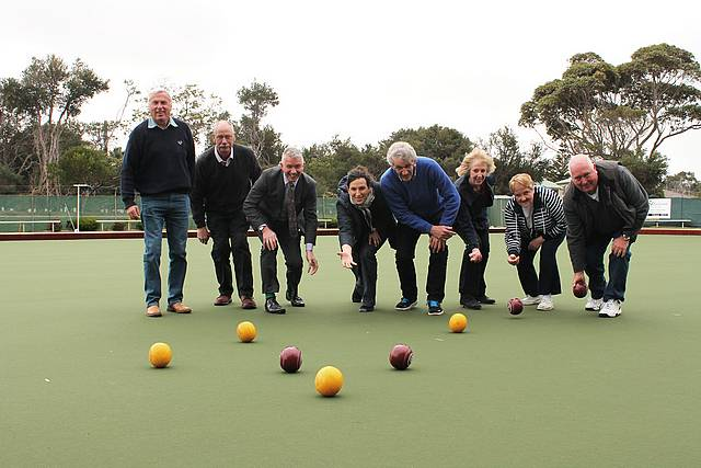 New green: from left, Inverloch Bowling Club board member Neil Everitt, president Ron Burge, Bass MLA Brian Paynter, Bass Coast Shire Council deputy mayor Cr Jordan Crugnale, treasurer John Sutcliffe, secretary Carol Waters, tournament Secretary Marg Flett and greens director Gary Hardy test out the new synthetic green at the Inverloch Bowling Club.