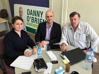 Stepping up opposition: Gippsland South MLA Danny O'Brien (centre) discusses the Leongatha South landfill proposal with Claire Crocker and Ron Wangman from Protect South Gippsland.