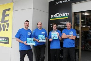 Saving lives this September: Peter McNiven, Andrew Checkley, Morgan Gale and Gary Goodwin of Autobarn Leongatha sport their Blue September merchandise in preparation for this Saturday's fundraiser.