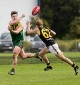 Wet weather specialist: Rhett Kelly relished the conditions for Leongatha, getting another handball away.
