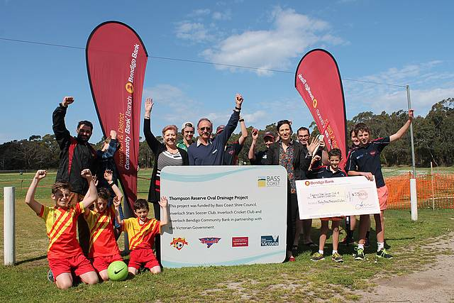 Better facility: representatives from Bass Coast Shire Council, Bendigo Community Bank Inverloch, Inverloch Stars Soccer Club and Inverloch Cricket Club celebrate the improvements to Thompson Reserve in Inverloch.