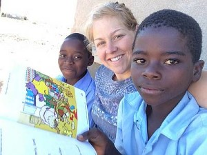 Lesson time: Stephanie McDonald teaches English to students at Linda Community School in Zambia.