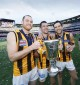 Three peat: from left, Jarryd Roughead, Luke Hodge and Jordan Lewis with another Cup.