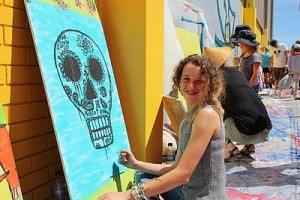 Mural maker: Orana Lynch works on her painting to be displayed at the Inverloch skate park.