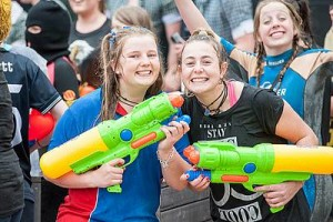 Student revenge: from left, Gemma Coulter and Nikita Wright made the most of the student versus teacher water fight at Leongatha Secondary College last Wednesday. Photo courtesy of Jamie Cummins.