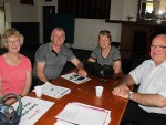 Talking rubbish: from left, Jean Carnell from Hallston, Garry and Sue Van Sinderen from Leongatha South and Max Spedding from Veolia discussed the proposal for a landfill in Leongatha South at a drop in session held last Tuesday, October 6 in Leongatha.