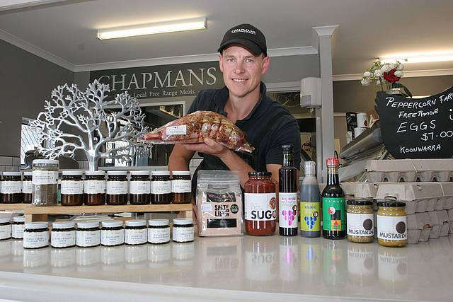 Ready to cook: Mark Chapman of Chapmans Free Range Butchery at Inverloch with a selection of fine meat, and Gewurzhaus and organic products available for memorable summer and festive dining.