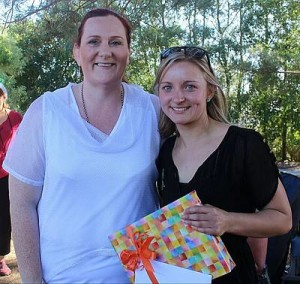 Farewell Ebony: Bronwyn Beach, president of the board of Karmai Community Children's Centre, thanks Ebony Knox for her service to the centre.
