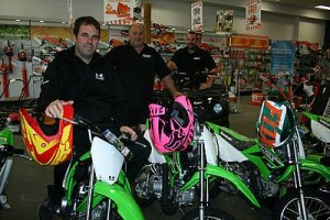 Plenty of choice: from left, Wonthaggi Motorcycles and Power Equipment's Matt O'Donnell, Tim Brown and Mick Fuchs showcase the range of children's motorcycles, adult bikes and quality gear available to make your Christmas extra special this year.