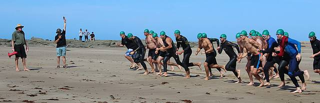 Get set: the male division of the Cape Aquathon taking off for the 400m swim.
