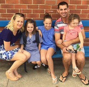 Family support: mum Bel, Lucy, Ella and dad Nick with Evie are appreciative of the love and support of family, friends and their local communities in the fundraising for Ella's surgery.