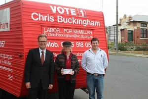 Road trip: from left, Chris Buckingham, Liz Buckingham and South Gippsland Labor branch cofounder Ben Corcoran on the campaign trail in Leongatha last Tuesday, February 16 where they stopped to hear the concerns of local voters.