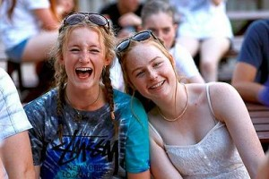 Lots of laughs: from left, Olivia Winchcombe and Tenee Schneider greatly enjoyed their time at the Victorian Drama League Summer Performance Project.