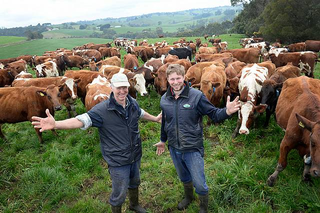 Standout team: from left, Bena's Toby Leppin and son Nick Leppin are finalists in the dairy farmer of the year section of The 2015 Farmer of the Year competition run by The Weekly Times. Photo courtesy of The Weekly Times.