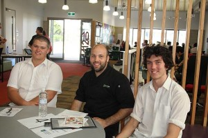 Food for thought: Brent Sinclair (centre) of Brent Sinclair Catering spoke to Leongatha Secondary College students Jack and Jesse about his experiences in the workforce at the Beacon speed careers seminar on Tuesday, March 22.