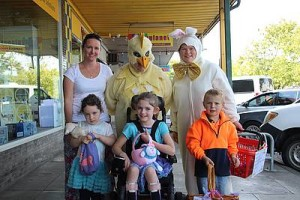 Good deeds: front, from left, Tennielle Hengstberger, Nola Sneddon, Carolyn Barnes, front, from left, Hannah Hengstberger, Aylah Hengstberger and Nathan Barnes handed out chocolate treats to people on the streets of Leongatha leading up to Easter.