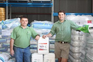 Helping hands: from left, Mirra Zubcic and Sam Vagg are in store and ready to help local farmers with all their fertilising and agronomy needs at Landmark Leongatha.