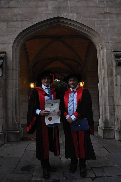 Congratulations: Tarwin Vet Group's Doctor Phil Poulton PhD at his graduation on March 18. He is pictured with Melbourne University's vet faculty associate professor Michael Pyman, formerly of the Korumburra Vet Group.