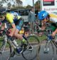 Pushing it: Max Leiner (Carnegie-Caulfield) and Oliver McLean (Leongatha) battled it out for the intermediate sprint during the Men's U/15A criterium at Wonthaggi on Saturday.
