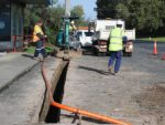 Road block: VicRoads contractors worked outside businesses on Leongatha's Long Street for two days last week, causing further disruption to the Long Street businesses.