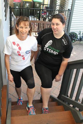 The climb: Foster's Danielle Hepburn and Leongatha's Narelle McNaughton are preparing for Stadium Stomp, which will involve climbing 7300 stairs in the MCG this June. The pair aims to raise money for the Cure for Motor Neurone Disease Foundation.
