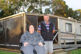 High and dry: Stan Crossley and his wife Paula purchased a cabin in the Long Jetty Caravan Park in 2013, unaware that three years later they would be forced to give it up.