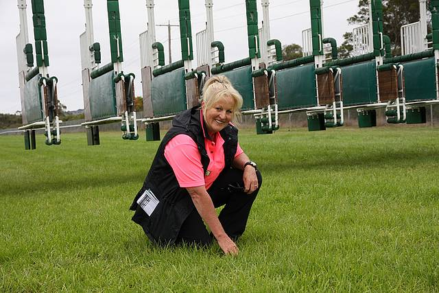 Terrific track: Cindy Logan, track manager at Stony Creek Racing Club, works hard to prepare the track for race day.