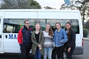 Bus trips: from left, Mary MacKillop Catholic Regional College's Matthew van der Veldon, Danielle Martin, Chelsea Tuckett, Ciara Ryan and Jennifer Bals are setting off for a World Youth Day meeting in Poland.