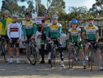Ready: from left, Phil Hanley, Austin Timmins, Brett Franklin, Gavin Slavin, Steve Allen, Thomas McFarlane, Oliver McLean, Harrison McLean and David McFarlane before the start of stage four of the Gippsland Three Day Tour at Leongatha on Monday.