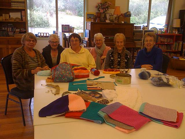 Craft for cancer: from left members of the Clickety Click knitting and crocheting group from Tarwin Lower and Venus Bay Anda Everitt, Anne McIntyre, founder Joan Harloff, Helen Ohia, Mary Hartshorn, Liz Martin enjoy creating gifts for Peter MacCallum Cancer patients.