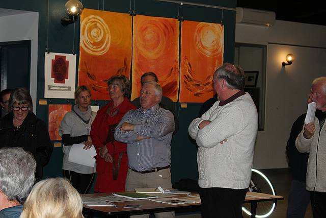 Voicing concern: from left, Kevin Griffin and Peter Dalmau both took to the floor during Bass Coast Shire Council's Inverloch Transfer Station information session on Friday where they both stated they did not want the station to close.