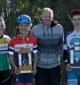 Shining: from left, in second place was Bernadette Fitzgerald; the winner of the Lex Watt Memorial Trophy, Oliver McLean; third, Brad Bouquet; and Zach Stubbs-Teylor, thewinner of the Watchorn Trophy for Juniors made an impressive winners' group for the Leongatha Cycling Club held at Pound Creek on Sunday.