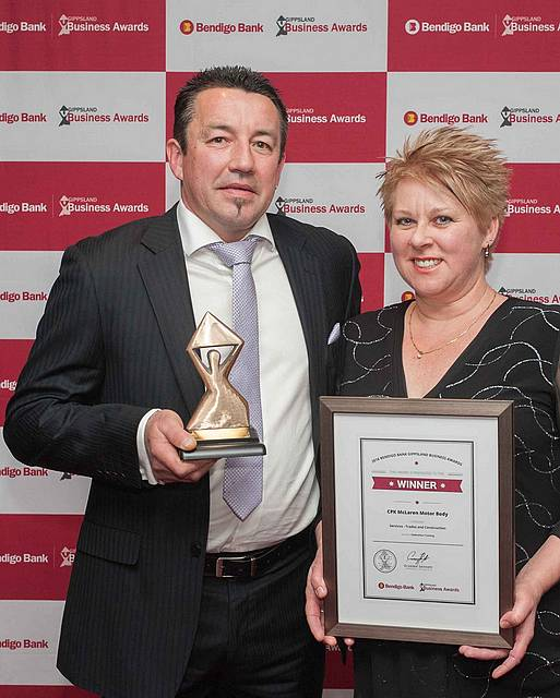 Standout performers: Craig and Pam McLaren of CPK McLaren MotorBody, Leongatha, celebrate their win in the Gippsland Business Awards.
