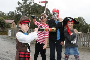 Killer costumes: from left, Miller and Darcy Harwood from Yinnar and Lachlan and Alannah Judd from Sunbury put on their best pirate faces at Coal Creek on Sunday for Pirate Day.