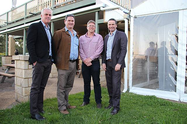 Leading way: new GippsDairy directors Richard Shephard and Dan Armstrong (centre), with GippsDairy chair Graeme Nicoll (left) and regional manager Allan Cameron before the 2016 AGM at Kardella South.