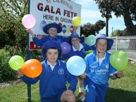 Plenty of fun: from left, St Laurence's Primary School students Jacob, Lara, Isabella and Samuel are excited about the St Laurence's Primary School/Parish fete to be held this Saturday, October 22, at the Leongatha school.