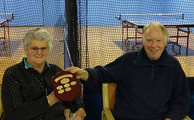 Worthy winner: Dawn Rasmussen, left, and Alan Odgers with the Greenlow trophy.