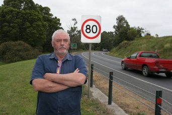 Go slow: retired traffic policeman Wayne Beale is calling for a 60km/h speed limit to be applied to the winding bends of the South Gippsland Highway near Coal Creek Community Park and Museum, Korumburra, to reduce the likelihood of accidents.